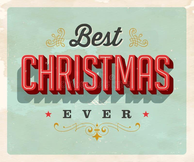 Uitstekende Stijlprentbriefkaar - Beste Kerstmis ooit royalty-vrije illustratie