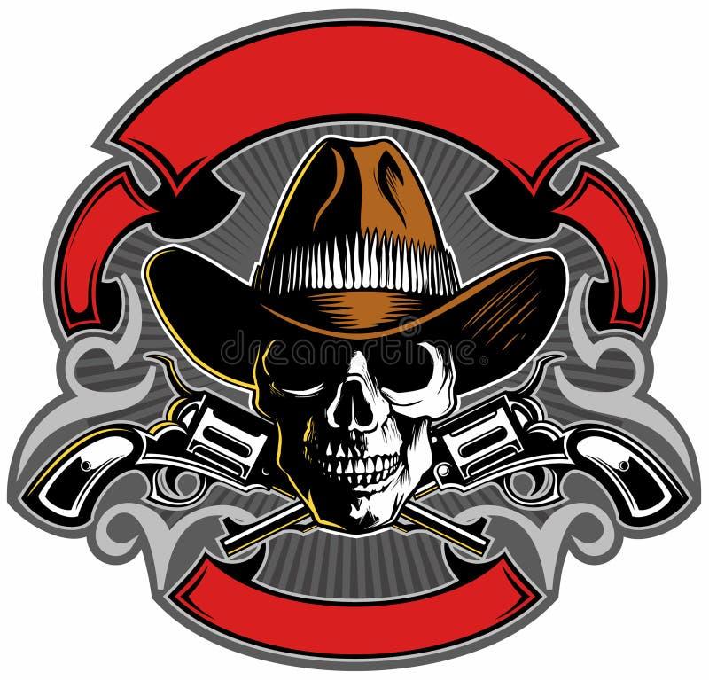 Uitstekende stijlschedel met cowboyhoed, gekruiste kanonnen en banners, het vectorontwerp van het schedelembleem stock illustratie