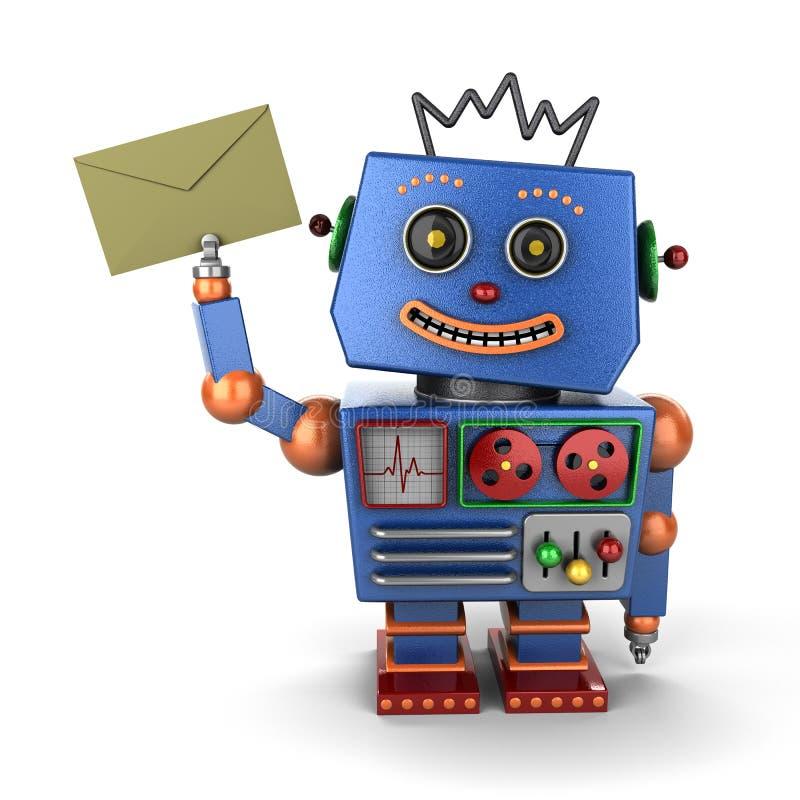 Uitstekende stuk speelgoed robot met envelop vector illustratie