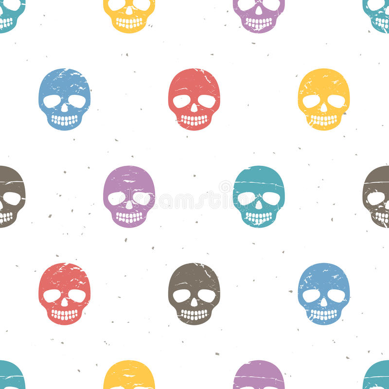 Uitstekende suikerschedels Naadloos patroon op witte achtergrond stock illustratie