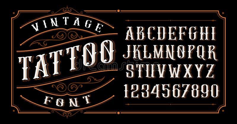 Uitstekende tatoegeringsdoopvont op de donkere achtergrond stock illustratie