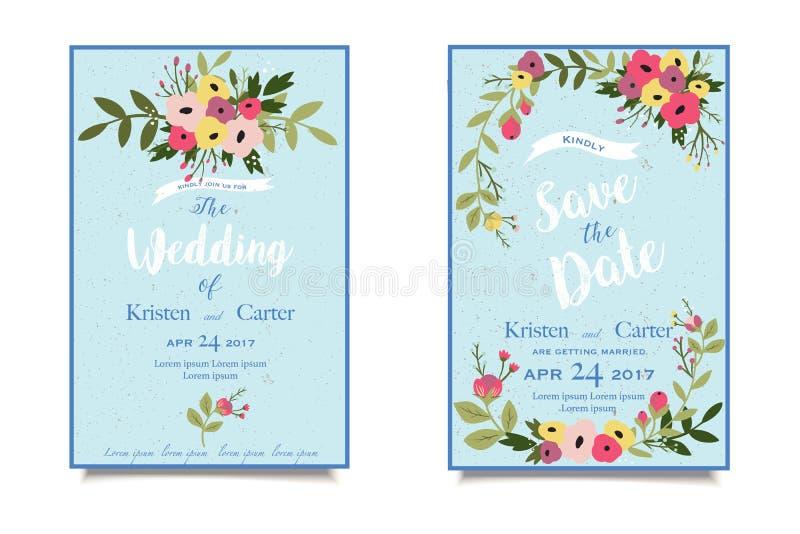 Uitstekende tedere huwelijksuitnodiging Mooie groetkaart Oude stijl royalty-vrije illustratie