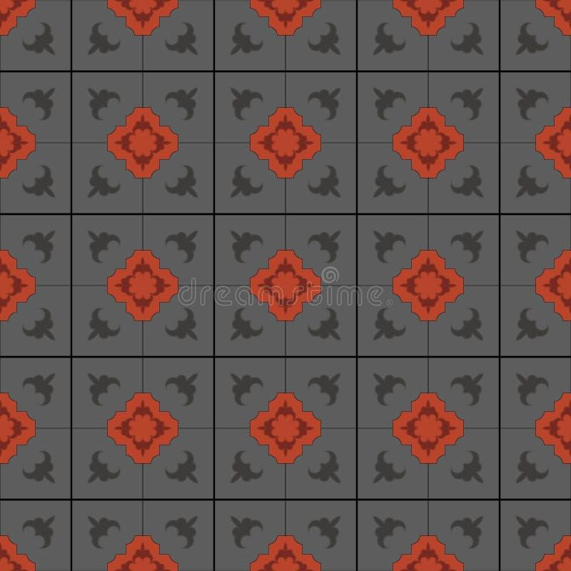 Uitstekende tegels ingewikkelde details voor een decoratieve blik Naadloze retro vector Ceramische verfvloer, het Lapwerk van de  vector illustratie