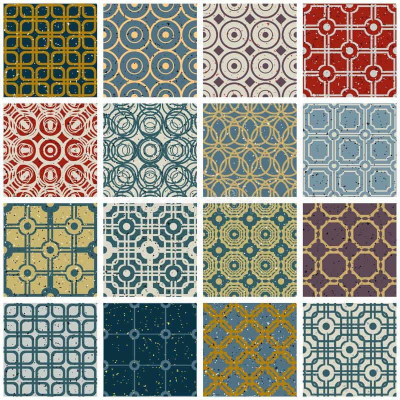 Uitstekende tegels met de naadloze geplaatste patronen van grungetexturen stock illustratie