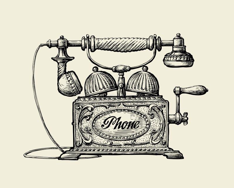Uitstekende Telefoon Hand-drawn schets retro telefoon Vector illustratie stock illustratie
