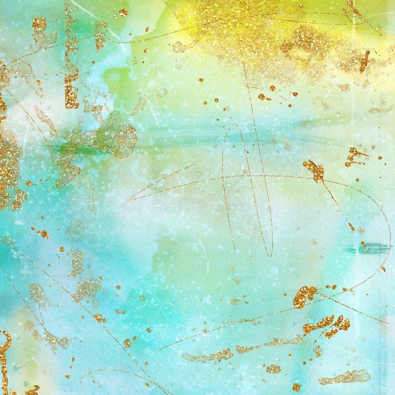 Uitstekende textuur als achtergrond in munt, turkoois, geel en gouden Artsy Boheemse Stijl royalty-vrije stock foto