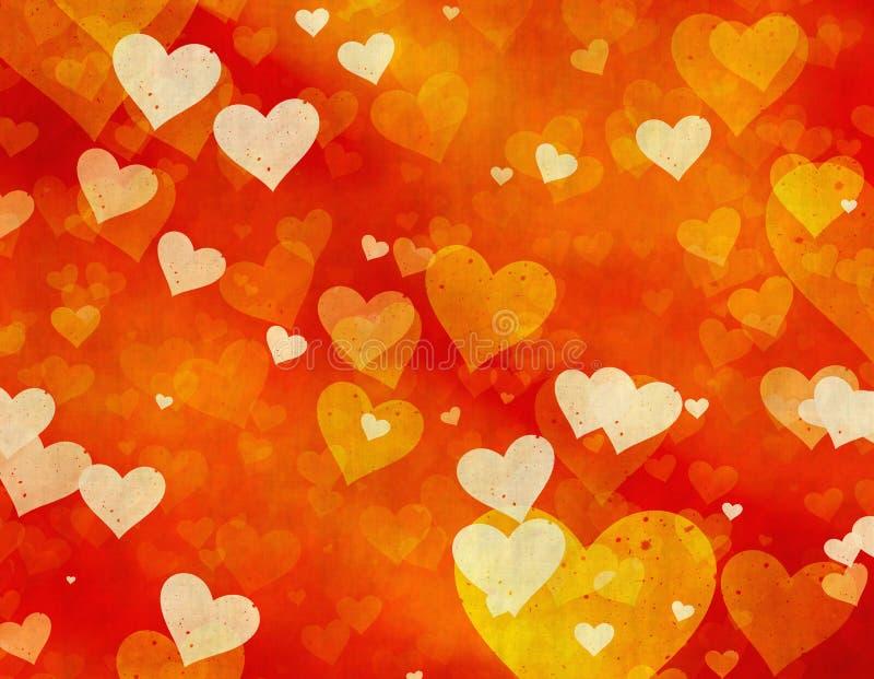 Uitstekende Textuur met geschilderde harten stock illustratie