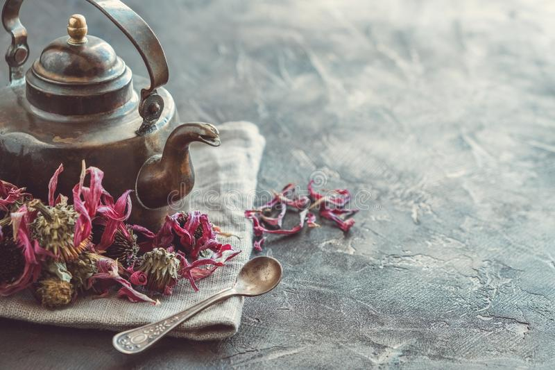 Uitstekende theepot van gezonde echinaceathee en droge coneflowerknoppen royalty-vrije stock foto's