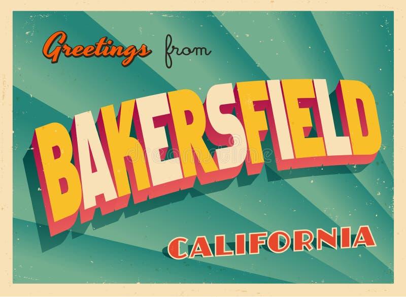 Uitstekende Toeristische Groetkaart van Bakersfield, Californië royalty-vrije illustratie