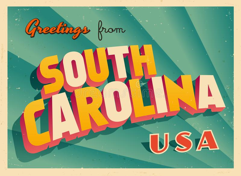 Uitstekende Toeristische Groetkaart van Zuid-Carolina royalty-vrije illustratie