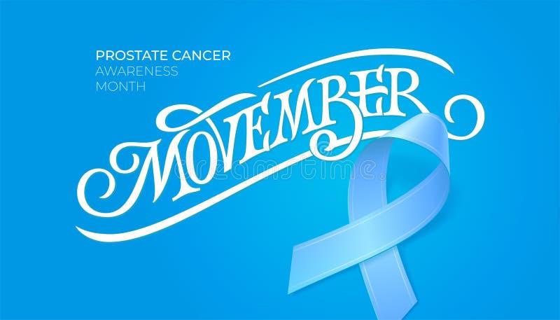 Uitstekende typografie Movember Prostate maand van de kankervoorlichting November-symbool Blauw lint en teken voor kaart, affiche royalty-vrije illustratie