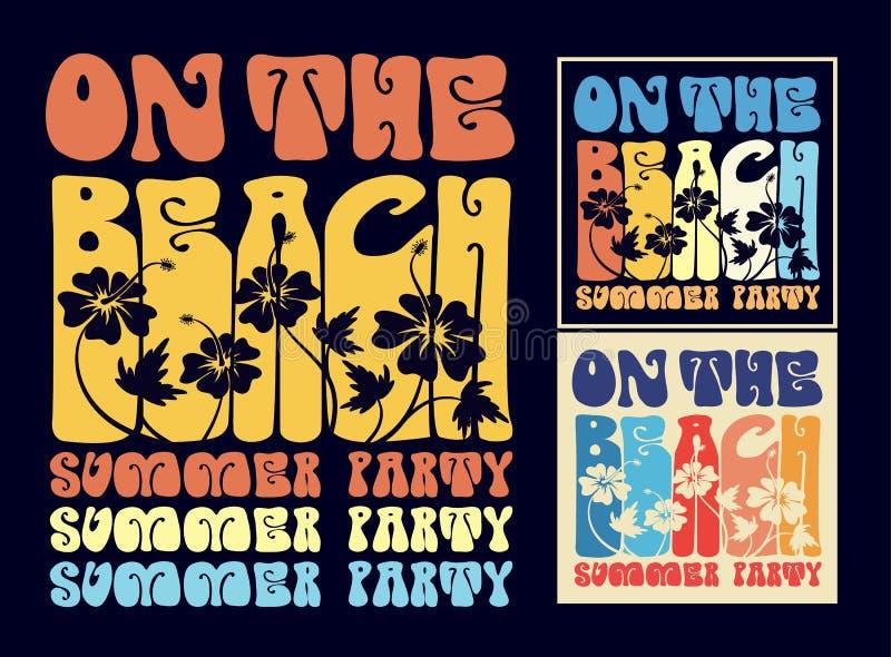 Uitstekende typografie op het strandontwerp royalty-vrije illustratie