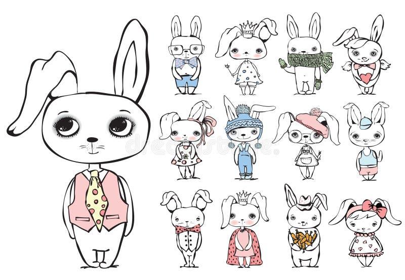 Uitstekende typografieaffiche met super modieuze konijnen royalty-vrije illustratie