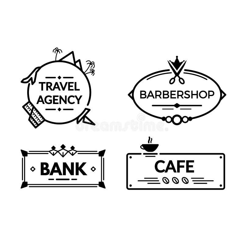 Uitstekende uithangborden, aanplakborden Uithangbord voor landgoedagentschap, bank, herenkapper, koffie vector illustratie