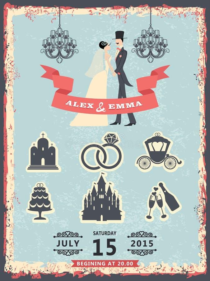 Uitstekende uitnodiging met bruidegom, bruid en huwelijkspictogrammen royalty-vrije illustratie