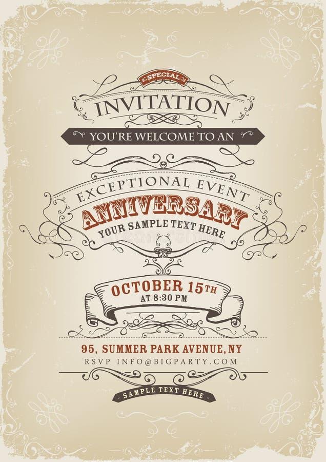Uitstekende Uitnodigingsaffiche vector illustratie