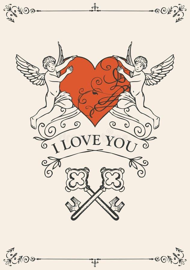Uitstekende valentijnskaartkaart met sleutels, hart en cupido's stock illustratie