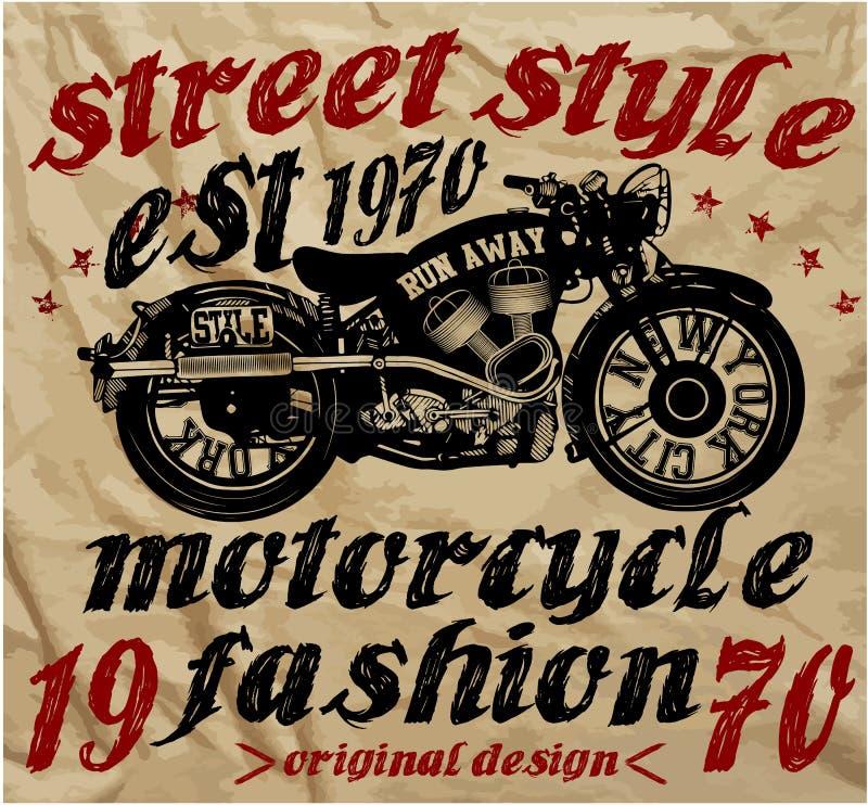 Uitstekende van de de Handtekening van het Motorras de T-shirtdruk stock illustratie