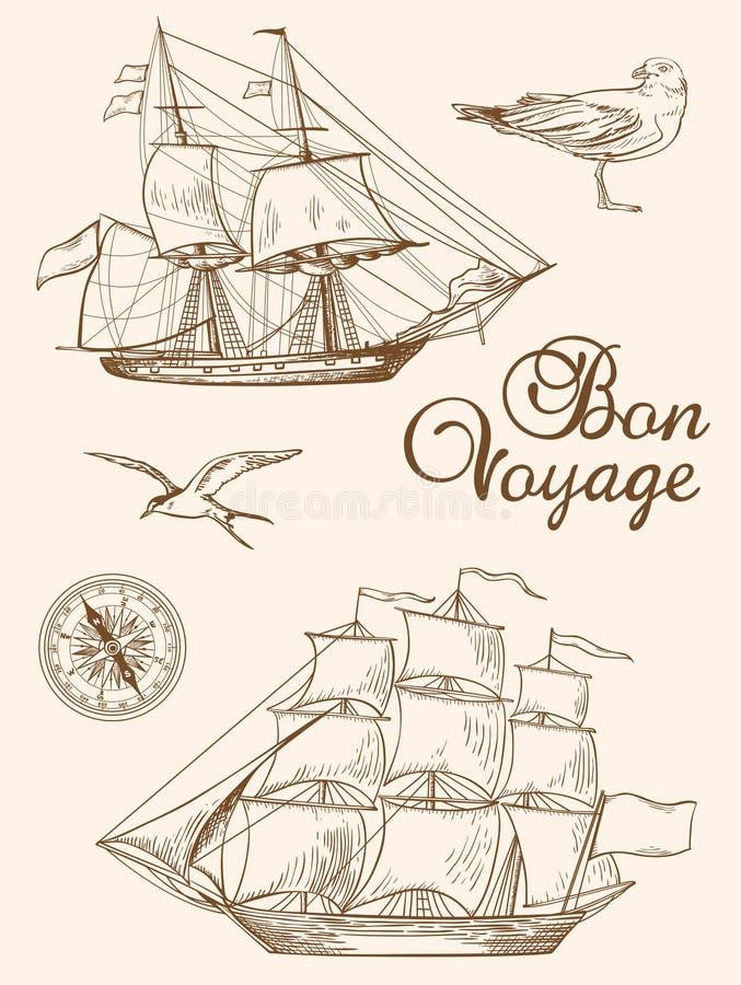 Uitstekende varende schepen stock illustratie