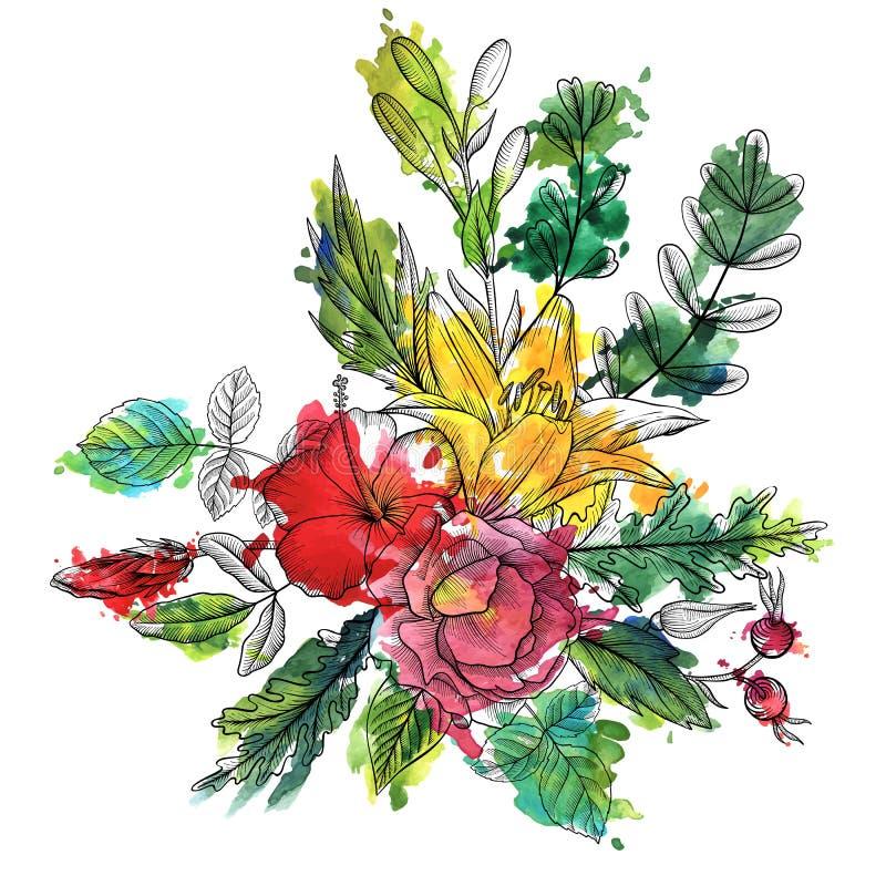 Uitstekende vector bloemensamenstelling vector illustratie