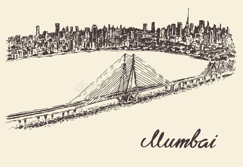 Uitstekende vector de illustratieschets van de Mumbaihorizon vector illustratie