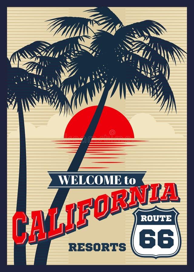 Uitstekende vector de zomeraffiche van Californië, retro t-shirtdruk stock illustratie