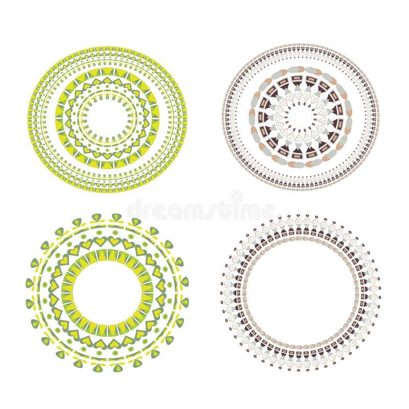 Uitstekende vector Vastgestelde mandala Bloemenelementen voor ontwerp van monogrammen, uitnodigingen, kaders, menu's, etiketten e stock illustratie