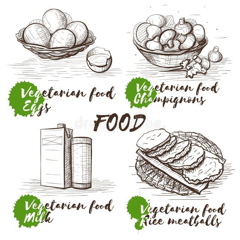 Uitstekende vectorillustratie voor gezond levensstijlontwerp Vegetarische voedselschets Kokende voedselachtergrond Restaurant stock illustratie