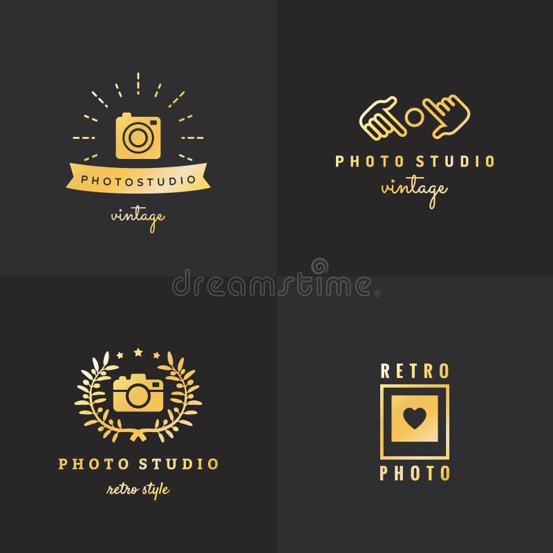 Uitstekende vectorreeks van het foto de gouden embleem hipster Deel Twee vector illustratie