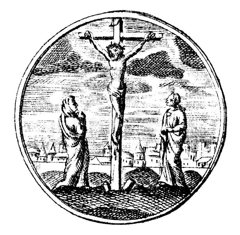 Uitstekende Vectortekening of Antieke Gravure van Rond gemaakte Illustratie die Kruisiging van Jesus Christ tonen vector illustratie