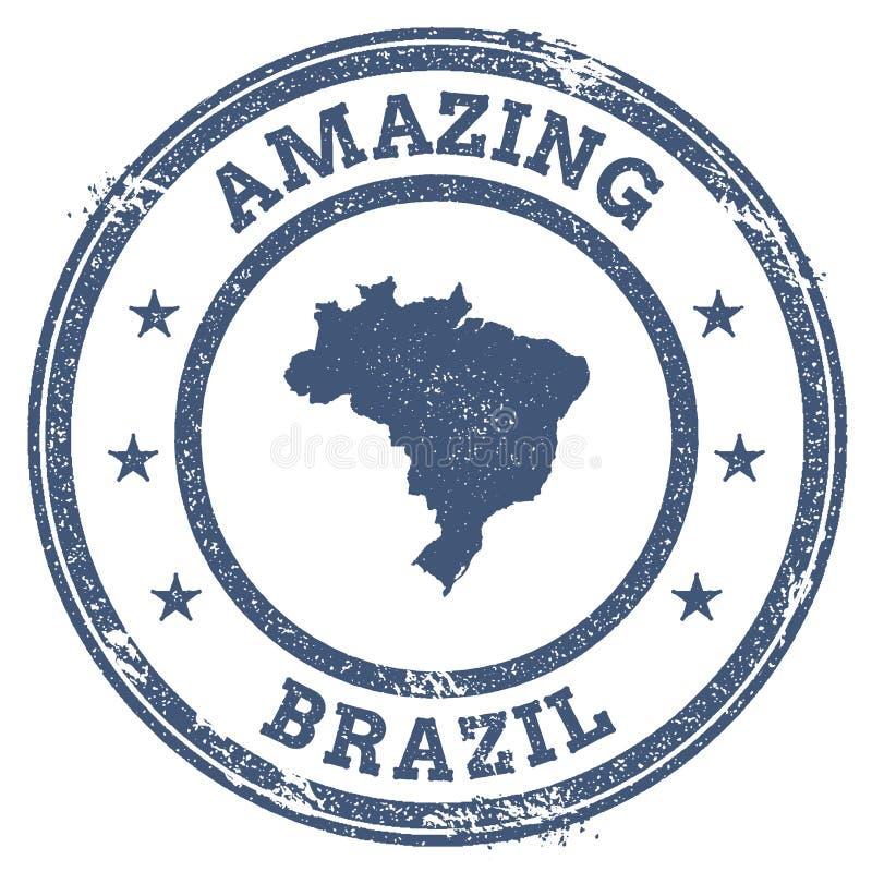 Uitstekende Verbazende de reiszegel van Brazilië met kaart vector illustratie
