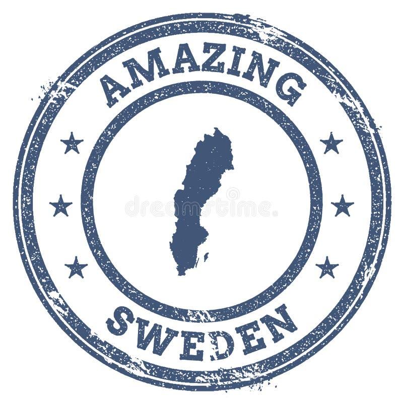 Uitstekende Verbazende de reiszegel van Zweden met kaart royalty-vrije illustratie