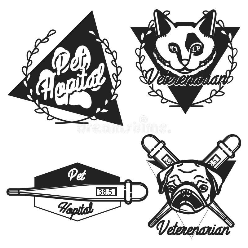 Uitstekende veterinaire emblemen royalty-vrije illustratie
