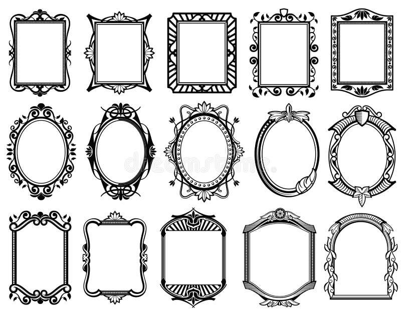 Uitstekende victorian, barok, rococo'skader voor spiegel, menu, de vectorinzameling van het kaartontwerp vector illustratie