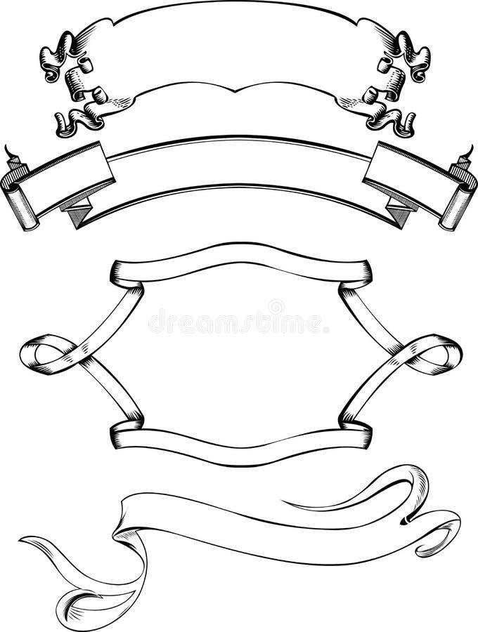 Uitstekende vier buigen de Kroon van Banners. stock illustratie