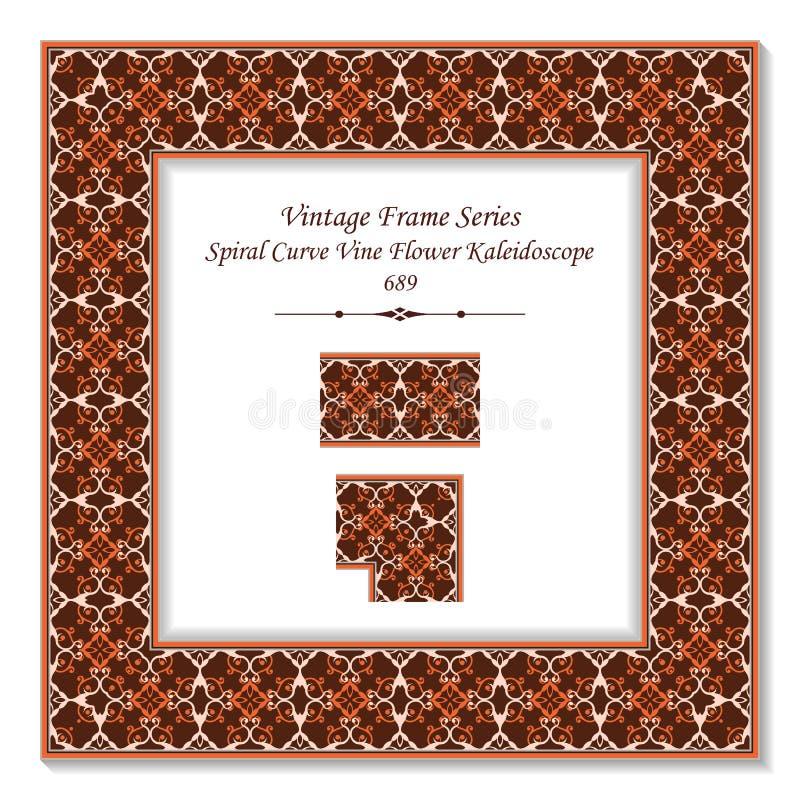 Uitstekende vierkante 3D dwars de wijnstokbloem van de kader bruine spiraalvormige kromme kal stock illustratie