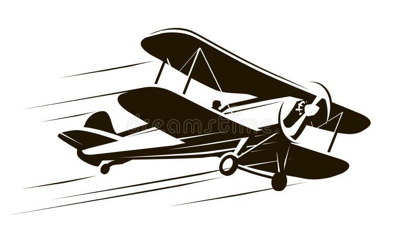 Uitstekende vliegende vliegtuigen Vliegtuigsymbool Retro vectorillustratie royalty-vrije illustratie