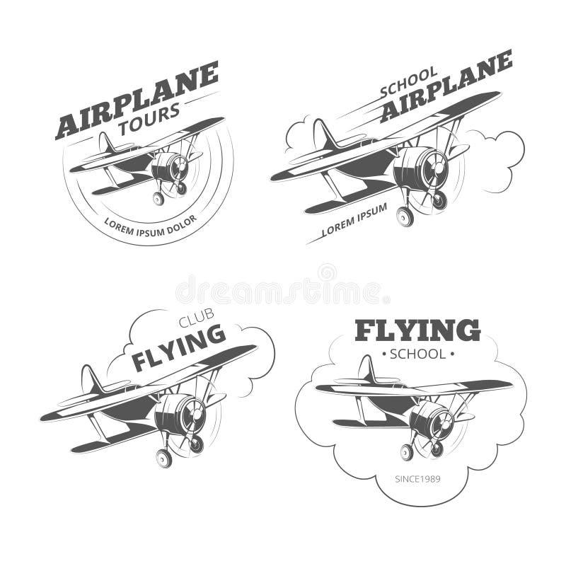 Uitstekende vliegtuig of vliegtuigen vectoremblemen, emblemen, geplaatste etiketten royalty-vrije illustratie
