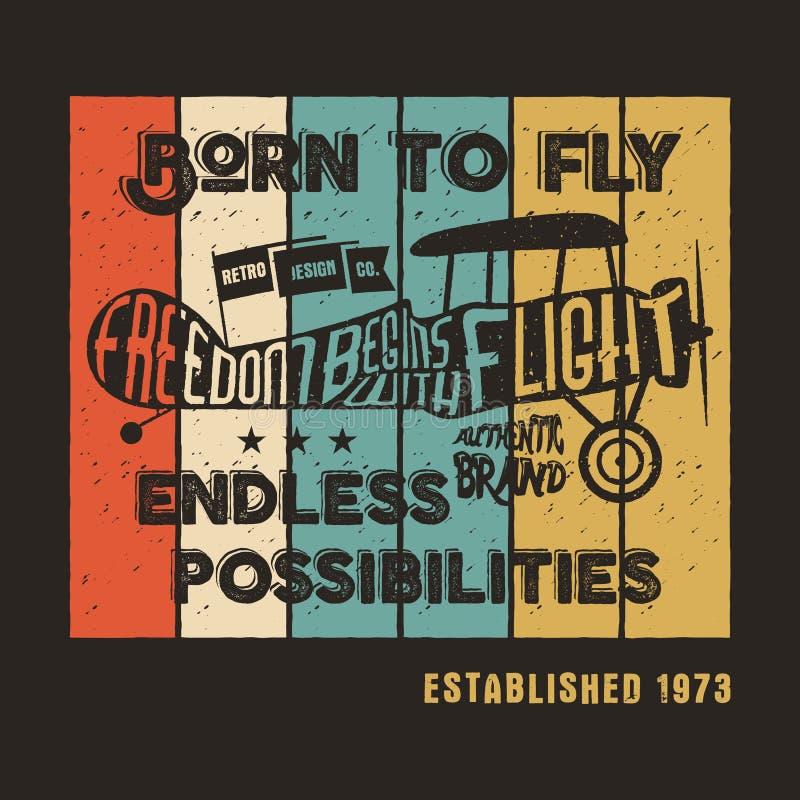 Uitstekende vliegtuigaffiche en het van letters voorzien voor druk Vectordrukken, de oude T-shirt van schoolvliegtuigen Retro luc royalty-vrije illustratie