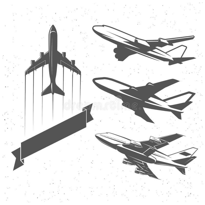 Uitstekende vliegtuigsymbolen, illustraties De luchtvaart stempelt vectorinzameling stock illustratie