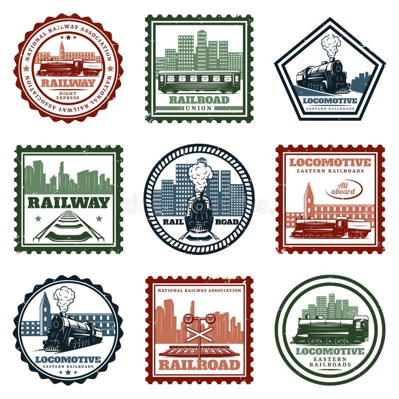Uitstekende Voortbewegings Geplaatste Stickers en Zegels vector illustratie