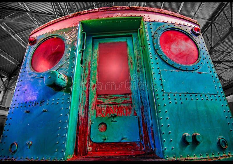 Uitstekende voortbewegingsclubauto caboose in de spoorwegpost royalty-vrije stock afbeeldingen