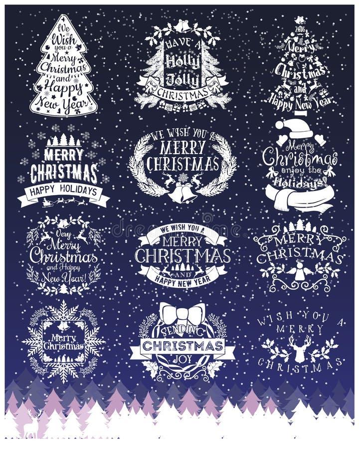 Uitstekende Vrolijke Kerstmis en de Gelukkige Kalligrafische en Typografische tekens van het Nieuwjaarkrijt op Bord royalty-vrije illustratie