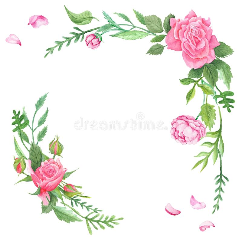 Uitstekende Waterverf Rose Corners stock illustratie