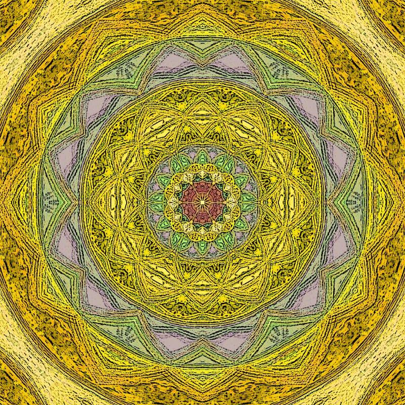 Uitstekende waterverfkaart met mandala voor bannerontwerp Etnische Indische stijl in gele kleur royalty-vrije illustratie