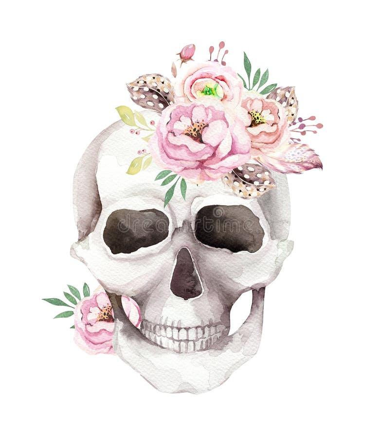 Uitstekende waterverfkaart met schedel en rozen, wildflowers, Hand getrokken die illustratie in bohostijl op wit wordt geïsoleerd royalty-vrije illustratie