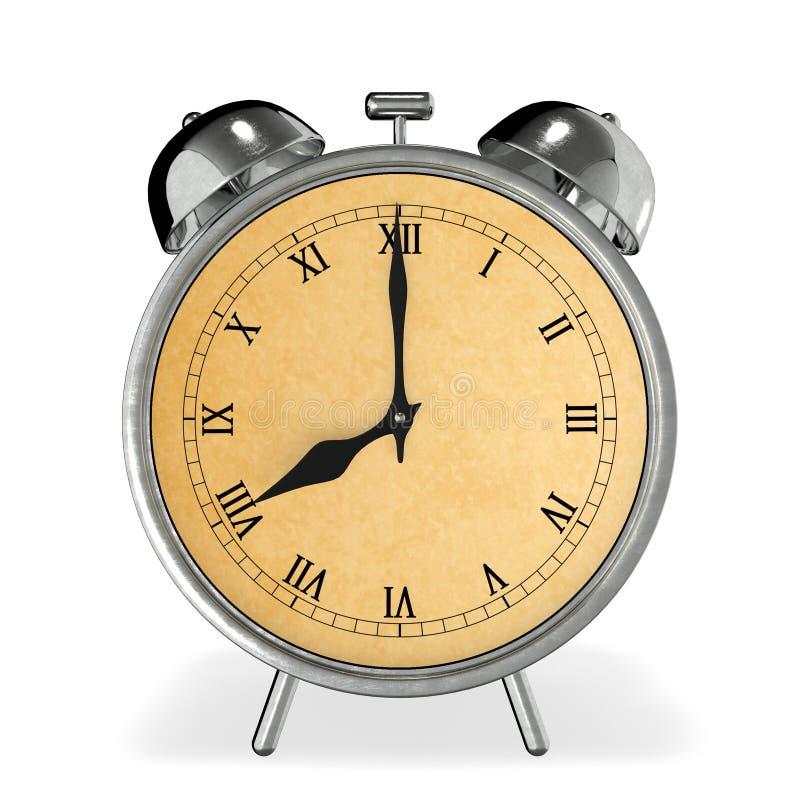 Uitstekende wekker bij 8 uur het 3d teruggeven stock afbeelding