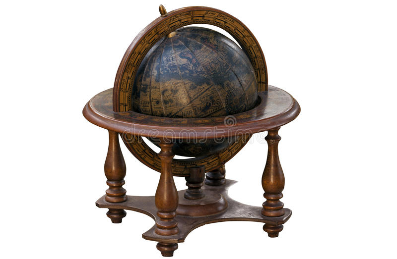 Uitstekende Wereldbol Opgezet in Houten Tribune royalty-vrije stock foto