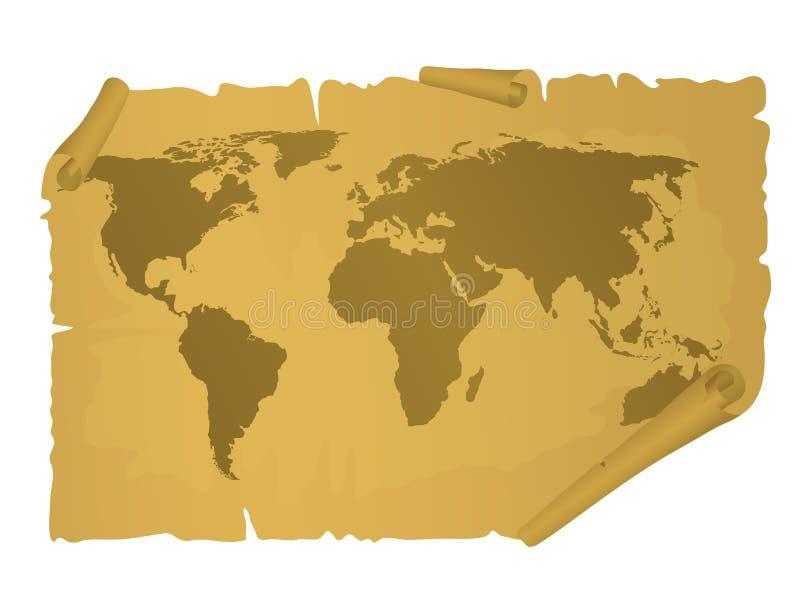 Uitstekende wereldkaart vector illustratie