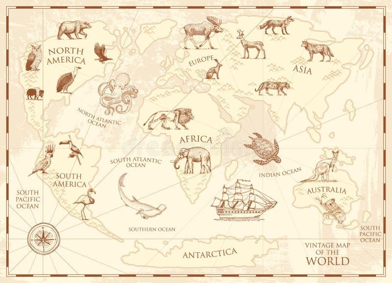 Uitstekende wereldkaart met wilde dieren en bergen Overzeese schepselen in de oceaan Oud retro perkament het wild ter wereld stock illustratie
